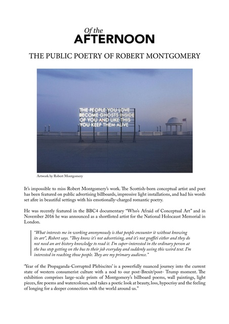 The Public Poetry of Robert Montgomery
