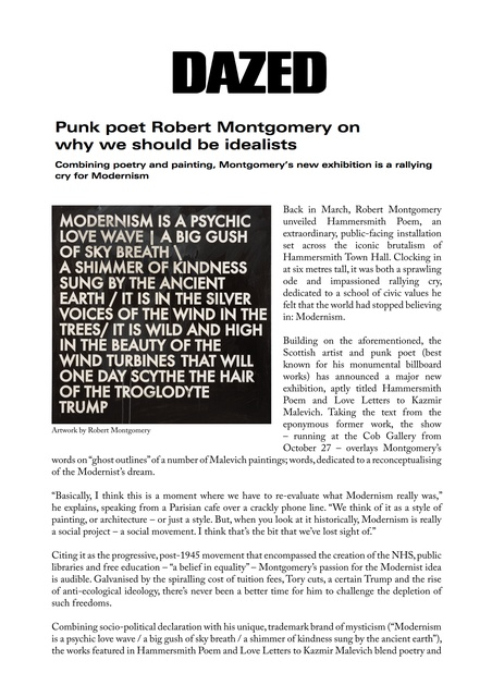 Punk poet Robert Montgomery on why we should be idealists