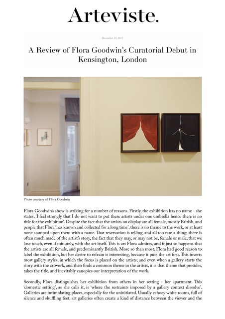 A Review of Flora Goodwin's Curatorial Debut in Kensington, London