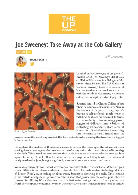 Joe Sweeney: Take Away at the Cob Gallery